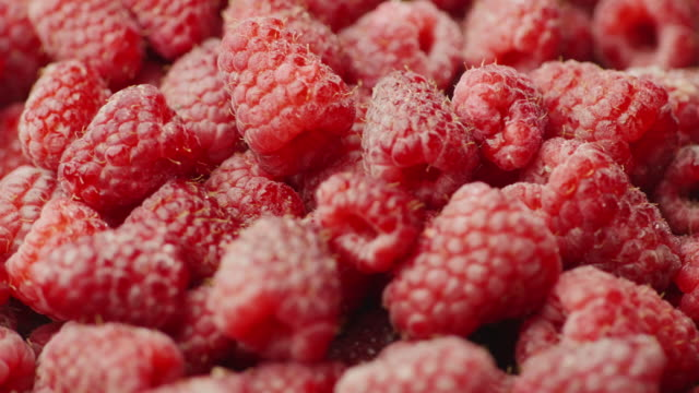 The berries are appetizing raspberries. Healthy and healthy food video