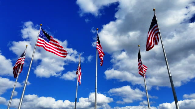 The big group of flying American Flags against the blue sky with bright clouds at the sunny day. video