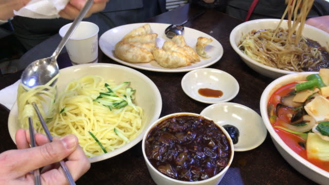 The big meal with Jajangmyeon , Seoul , South Korea. video