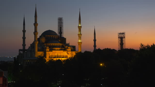The Blue Mosque (Sultanahmet Camii) with sunset sky, Istanbul, Turkey