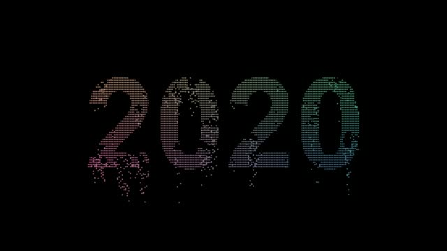 The board on which the number 2020 crumbles into small particles and symbolizes the outgoing year