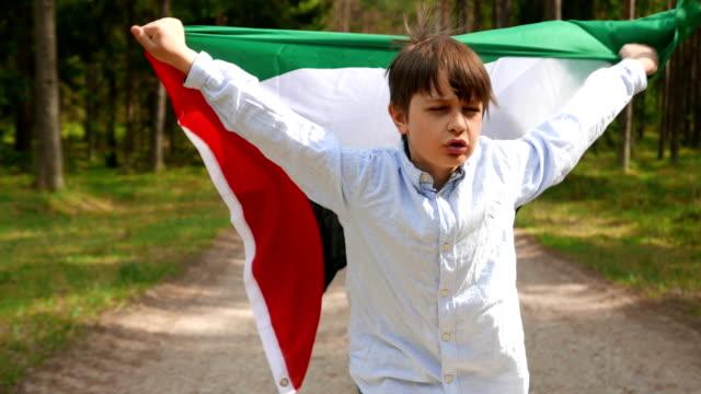 the boy runs through the woods with the flag of united arab emirates - uae flag filmów i materiałów b-roll