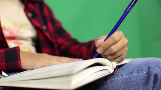 The boy video blogger writes a script for the plot. video