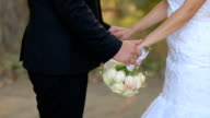 istock The bride and groom stand nearby and hold hands 1223180647