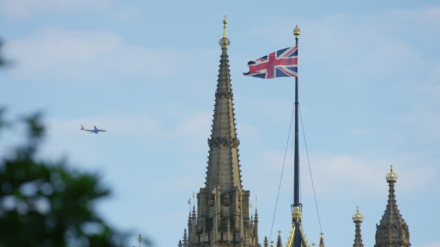 The British flag and a spires of a church