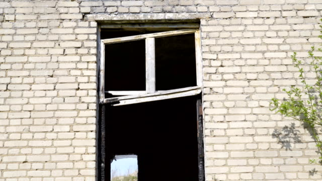 The broken side rails of the windows of the house