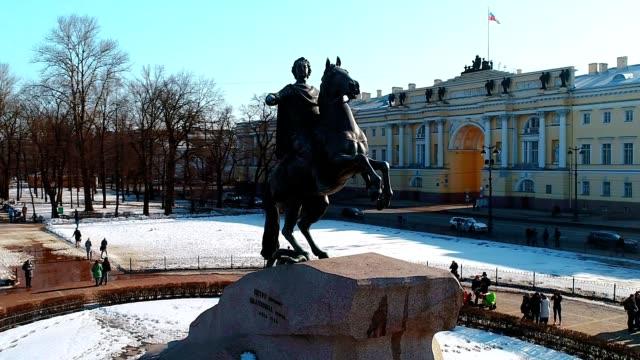 the bronze horseman in saint-petersburg city. a monument to peter i - san pietroburgo russia video stock e b–roll