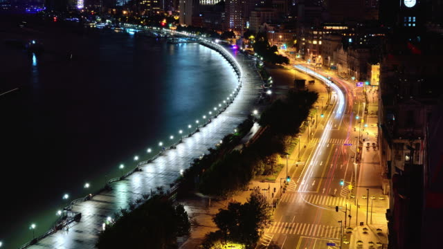 The bund and huangpu river of Shanghai in night, Time lapse video