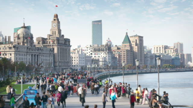 The Bund in Shanghai Daytime timelapse Of The Bund in Shanghai with pedestrians   shanghai stock videos & royalty-free footage