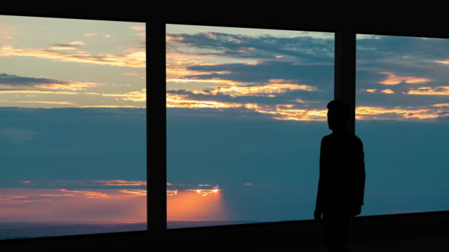 the businessman standing near the panoramic window on the  sunset background - man look sky scraper video stock e b–roll