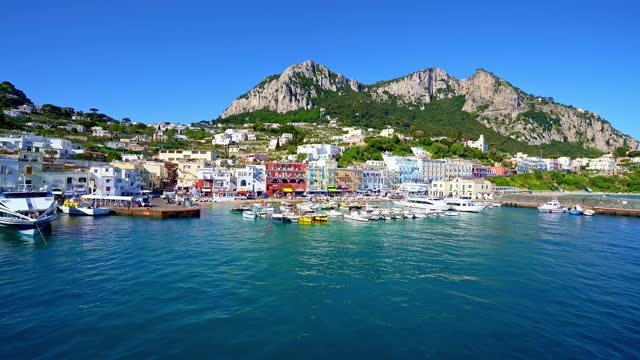 The busy town, a famous resort, on the coast of Capri in Italy