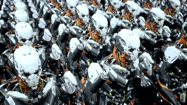 The camera flies past a squad of marching robot soldiers on a spaceship. Super realistic cinematic sci-fi animation The camera flies past a squad of marching robot soldiers on a spaceship. Super realistic cinematic sci-fi animation. Produced in 4K. cyborg stock videos & royalty-free footage