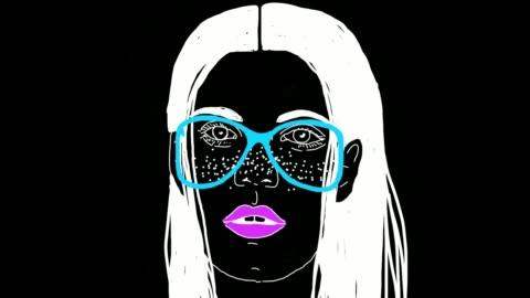 vídeos y material grabado en eventos de stock de la animación de dibujos animados de cara de las mujeres surrealistas en fondo negro - dibujo