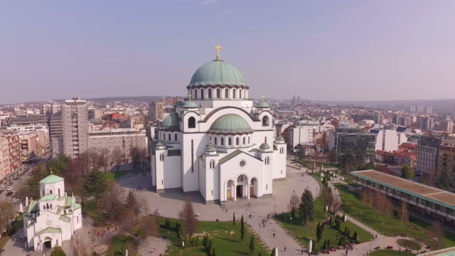 the cathedral of saint sava in belgrade, serbia, biggest orthodox christian church in eastern europe - serbia video stock e b–roll