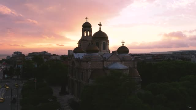 The Cathedral of the Assumption in Varna, Bulgaria The Cathedral of the Assumption in Varna, Bulgaria. high dynamic range imaging stock videos & royalty-free footage
