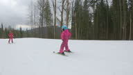 istock The child learns to ski with the instructor. 1281420662