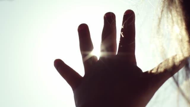 太陽光線の子演劇。自然。赤ちゃんのシルエット。 - 指点の映像素材/bロール
