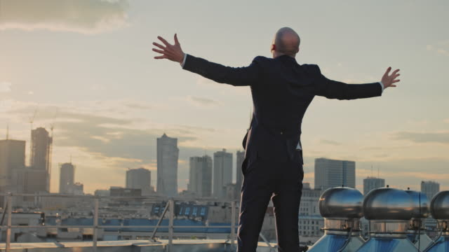 The city is mine. Businessman standing on roof with open arms