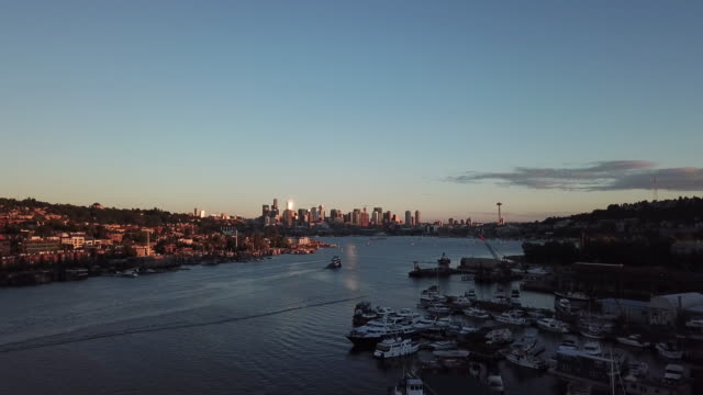 The city stretches far far away 4k drone footage of a busy city located next to the coast during sunrise seattle stock videos & royalty-free footage