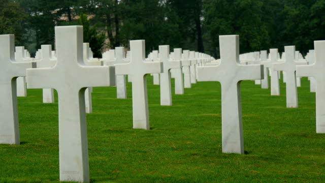 The clean cemetery of Normandy in France video