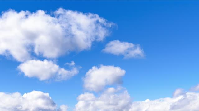 vídeos de stock, filmes e b-roll de o céu claro com cumulus nuvem 4 k de lapso de tempo - só céu