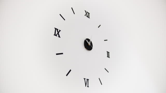 The Clock walk. Timelapse or time lapse of clock on white backgroungd and movement of clock hands