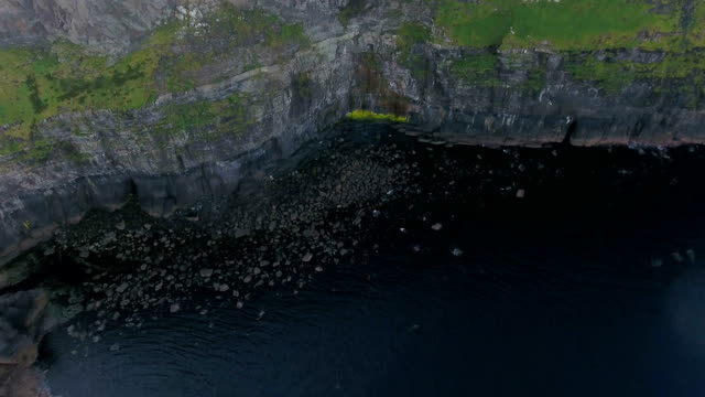 The closer view of the cliffs in Cliffs of Moher in Ireland video