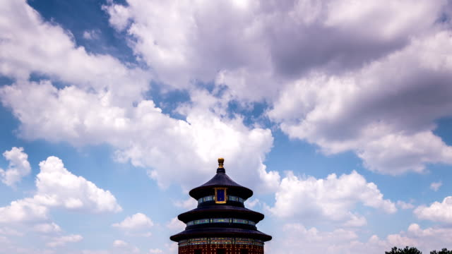 The cloudscape and the Qinian Palace of the Temple of Heaven in Beijing,China The cloudscape and the Qinian Palace of the Temple of Heaven in Beijing,China ancient architecture stock videos & royalty-free footage