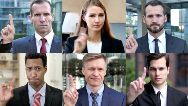 the collage of business people saying no with finger gesture - gest stop filmów i materiałów b-roll