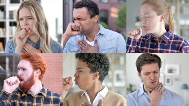 The Collage of Young People Coughing