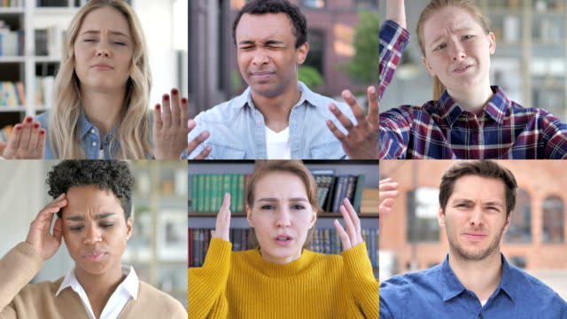 The Collage of Young People Expressing Loss With Hands