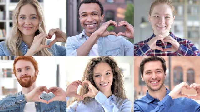 collage av unga människor som gör hjärta med händer - hjärtform bildbanksvideor och videomaterial från bakom kulisserna