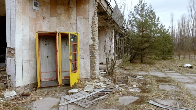 The collapsed telephone booth in Pripyat. Ukraine, April 2017 The collapsed telephone booth in Pripyat. Ukraine, April 2017 time zone stock videos & royalty-free footage