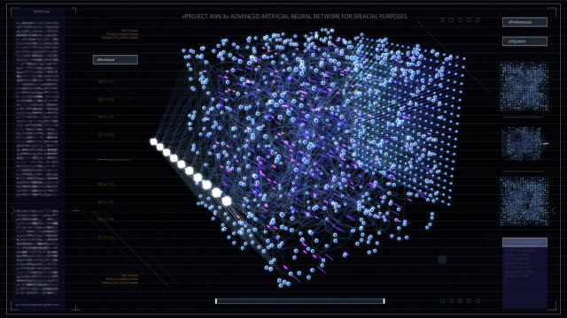 the concept of: dark visualization of neural network working in a cube. various clusters of connections loading, interchanging stream of information. - завод по переработке пищевых продуктов стоковые видео и кадры b-roll