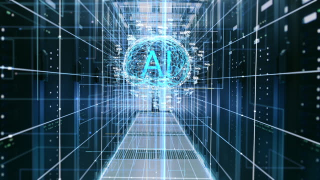 the concept of digital brain: abstraction of functional artificial intelligence in the data center with streams of information going through it. ai letters inside the brain. - ai stock videos & royalty-free footage