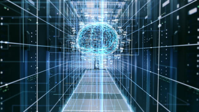 the concept of digital brain: abstraction of functional artificial intelligence in the data center with streams of information going through it. - ai stock videos & royalty-free footage
