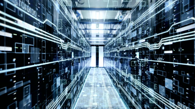 The Concept of: Digitalization of  Information Flow Moving Through Rack Servers in Data Center.