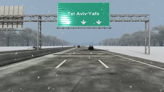 The concept of entrance to Tel Aviv-Yafo city, signboard on the highway stock video