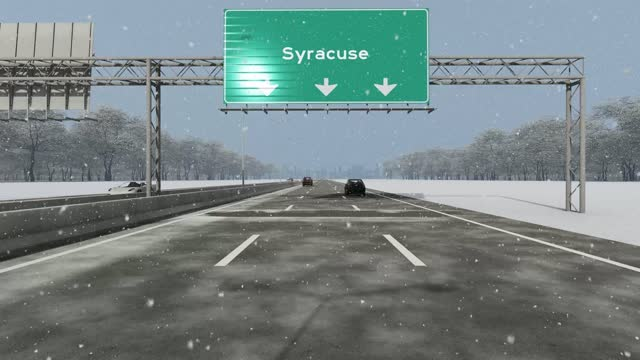 The concept of entrance to USA city, Syracuse, signboard on the highway stock video indicating