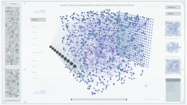 the concept of: light visualization of neural network working in a cube. various clusters of connections loading, interchanging stream of information. - apprendimento automatico video stock e b–roll