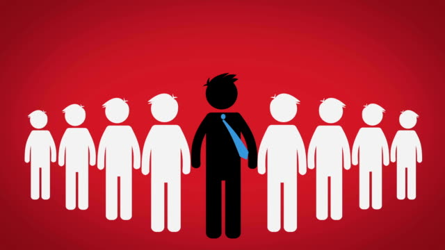 stockvideo's en b-roll-footage met het concept van de leider van een groep, pictogram op rode achtergrond (ceo) - lood