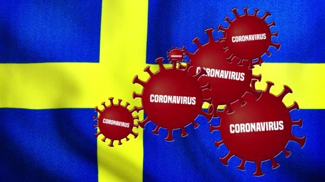 koronavirusutbrottet täcker sveriges flagga - sweden map bildbanksvideor och videomaterial från bakom kulisserna