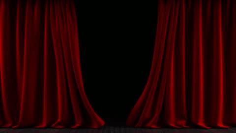 vídeos y material grabado en eventos de stock de las cortinas en el escenario. la animación son interminables. - rojo