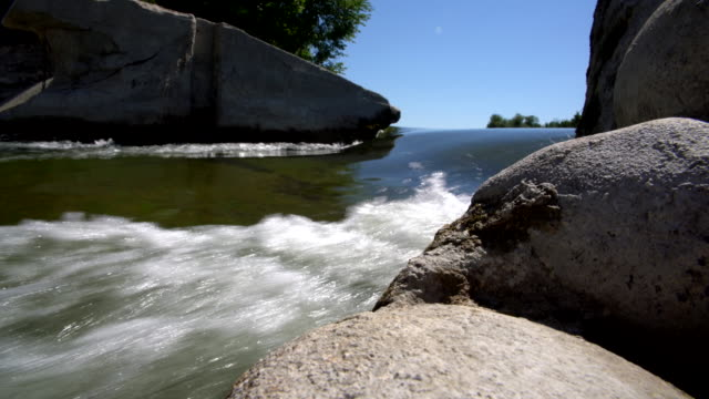 The dam on the Saugeen River near by Walkerton, Brockton, Bruce County, Ontario, Canada. Aerial drone 4K footage video