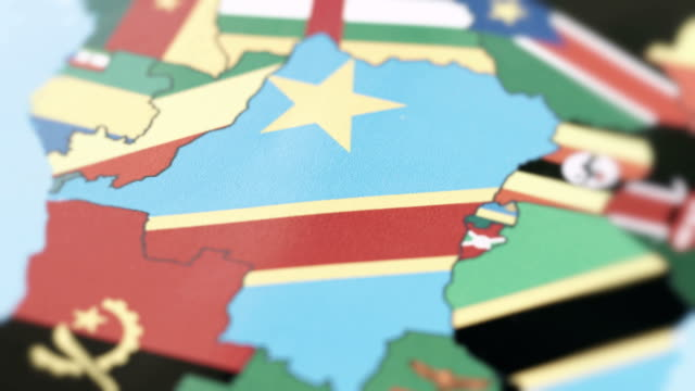The Democratic Republic of Congo Borders with National Flag on World Map video