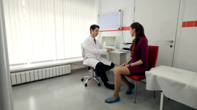 The doctor tell the girl about the future treatment video