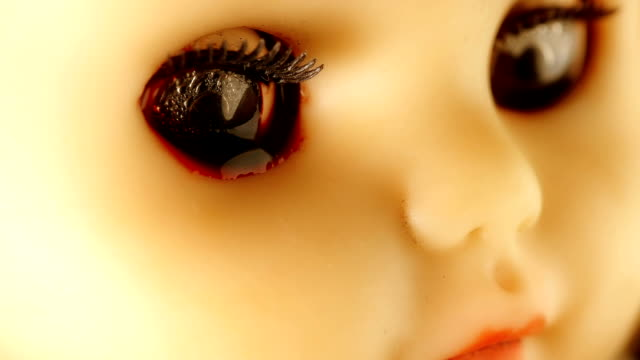 the doll rolled tears of blood from his eyes,as if she was crying,close-up the doll rolled tears of blood from his eyes,as if she was crying,close-up FullHD doll stock videos & royalty-free footage