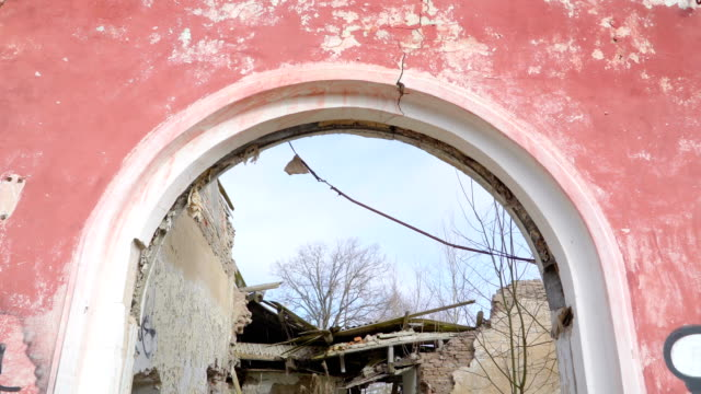 The door of the ruined house from the russian war video