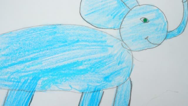 The drawing of an elephant in Africa. video