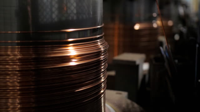 The drawing process of copper wire for the production of electric cable. Plant for the production of electric cable. The drawing process of copper wire. copper stock videos & royalty-free footage